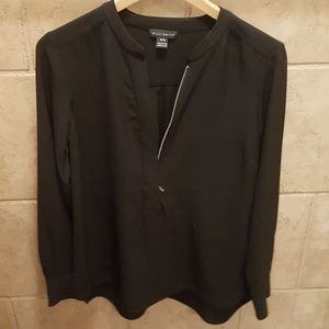 Willi Smith zippered balck blouse
